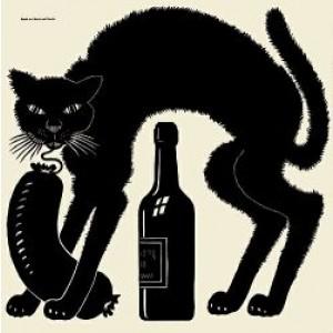 Scheibenbild Reuel mit Wurst und Flasche