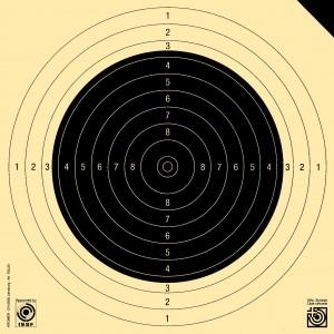 Gewehrscheibe 50 m, 10er SSV mit schwarzer Ecke (Probescheibe)