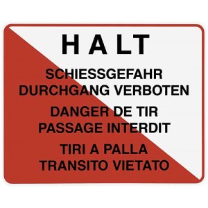"""Warntafel """"Halt Schiessgefahr"""", 3-sprachig"""