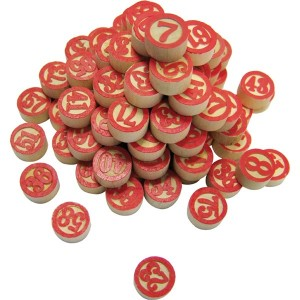 Lottonummern aus Holz 1-90, mit roten Zahlen