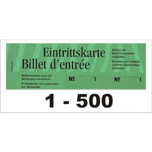 Block Eintrittsbillette, Serie zu 5 Block, 1-500