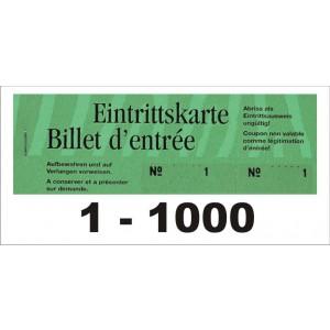 Block Eintrittsbillette, Serie zu 10 Block, 1-1000