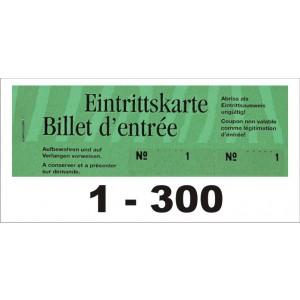 Block Eintrittsbillette, Serie zu 3 Block, 1-300