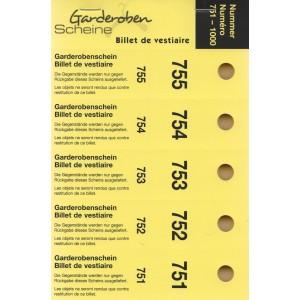 Serie Garderobescheine, 1-1000